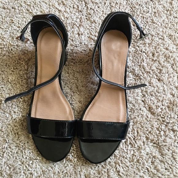 9f746c7dec1 Black patent Low block heel single strap sandal